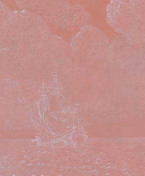 Pink Lace Ship (detail) – gouache and acrylic on paper