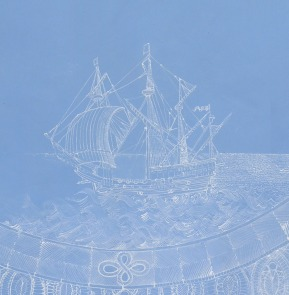 Blue Lace Ship (detail) – gouache and acrylic on paper